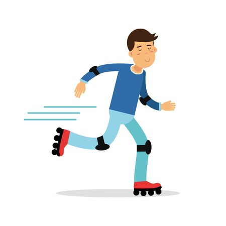 Active boy roller skating cartoon character, kids physical activities vector Illustration