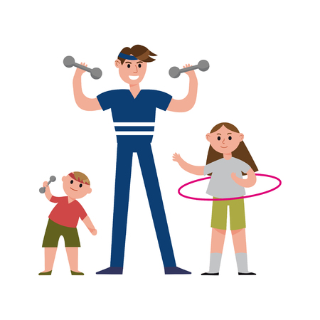 enjoying: Smiling father with his daughter and son doing sports exercises with sports equipment cartoon characters