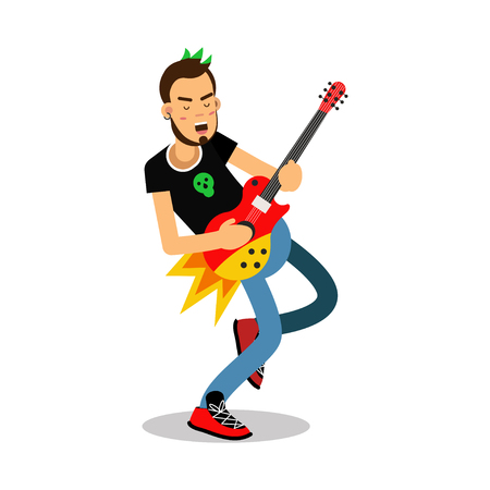 Rock musician playing on electrical guitar cartoon character vector Illustration