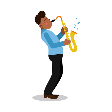 Young black man playing sax cartoon character, saxophone player vector Illustration