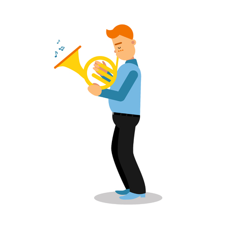 Young musician playing french horn cartoon character vector Illustration