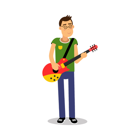 Teenage boy playing guitar during concert cartoon character vector Illustration