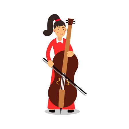 Young woman playing cello cartoon character, cellist playing classical music vector Illustration