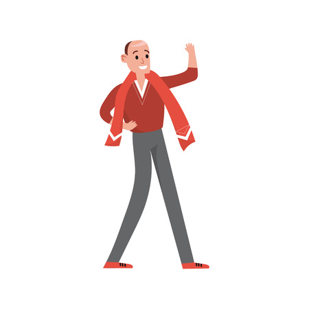 Happy sports fan in red supporting his team with a red scarf cartoon character vector Illustration