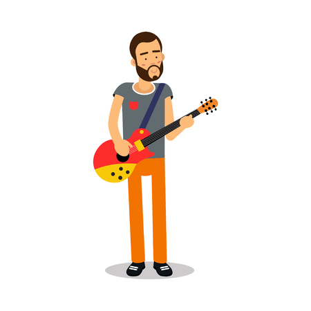 Bearded man playing guitar during concert cartoon character vector Illustration