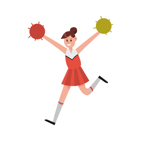 Cheerleading girl dancing with pompoms to support her team cartoon character vector Illustration