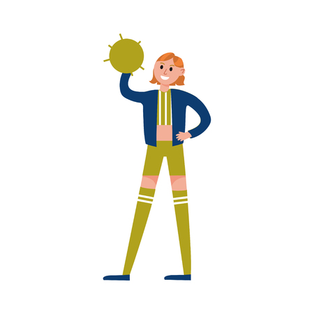 Smiling cheerleader girl wearing uniform standing and holding green pompom cartoon character vector Illustration