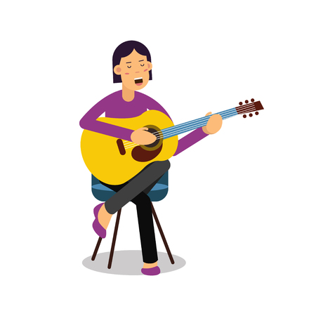 Young woman playing an acoustic guitar and singing cartoon character vector Illustration