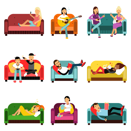People doing different activities sitting on the couch set, cartoon characters vector Illustrations