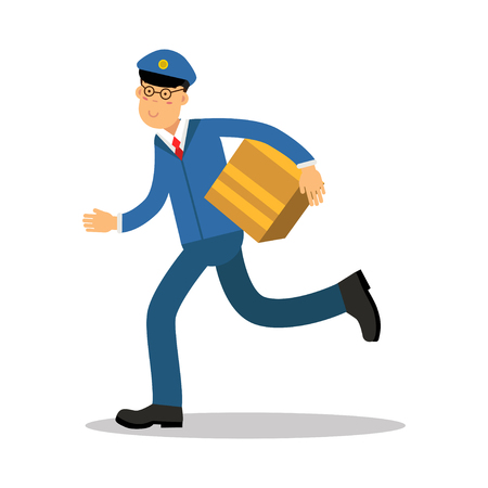 Postman in blue uniform running delivering parcel cartoon character, express delivery mail vector Illustration