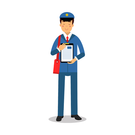 Postman in blue uniform with red bag holding clipboard cartoon character, express delivery mail vector Illustration