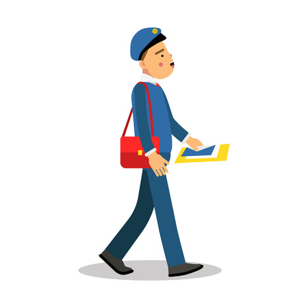 Postman in blue uniform with red bag delivering letters cartoon character, express delivery mail vector Illustration