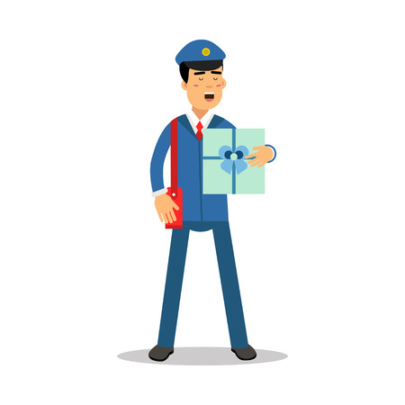Postman in blue uniform with red bag holding gift box parcel cartoon character, express delivery mail vector Illustration