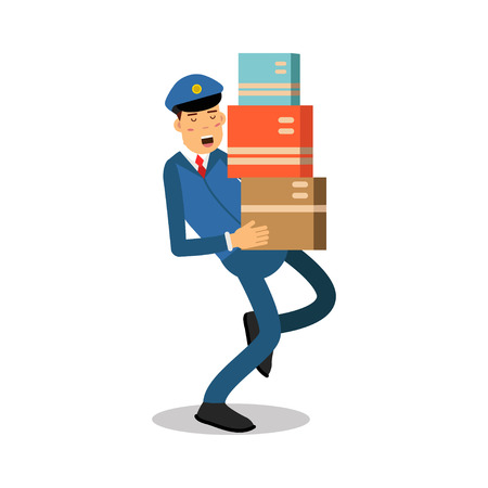 Postman in blue uniform carrying heavy parcels cartoon character, express delivery mail vector Illustration