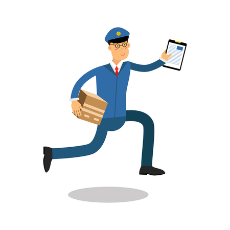 Postman in blue uniform with clipboard running delivering parcel cartoon character, express delivery mail vector Illustration