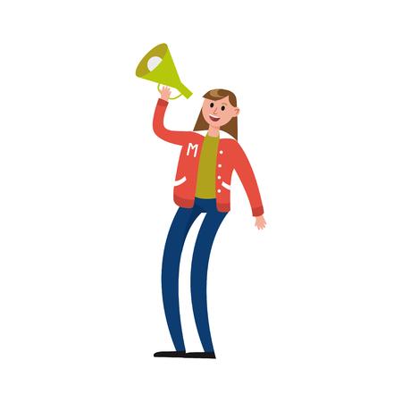 Sport fun girl supporting her team with loudspeaker vector Illustration Illustration