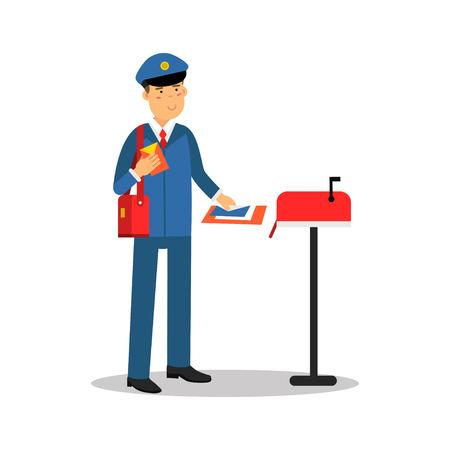 Brievenbesteller die in blauwe eenvormig brieven in brievenbus, de vectorillustratie van het beeldverhaalkarakter zetten
