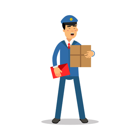 Postman in blue uniform with red bag holding cardboard box cartoon character, express delivery mail vector Illustration