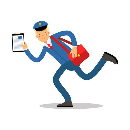 Postman in blue uniform with red bag and clipboard running cartoon character, express delivery mail vector Illustration Stock Illustratie