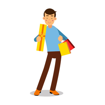 Young smiling blonde man in light blue pullover standing with with purchases cartoon character vector Illustration