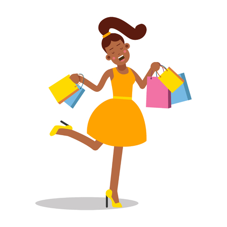 Young happy smiling woman in yellow dress standing with shopping bags cartoon character vector Illustration Illustration