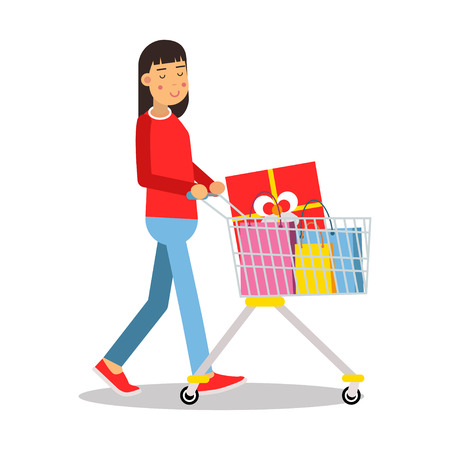 illustratio: Young brunette woman in casual clothes walking with a shopping cart cartoon character vector Illustratio Illustration