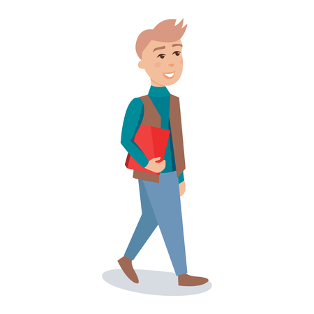 smart man: Male student walking with red book cartoon character vector Illustration