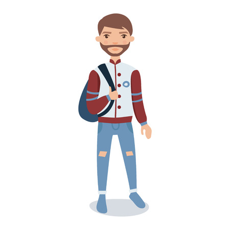 Bearded young man wearing baseball jacket standing with backpack cartoon character vector Illustration Illustration