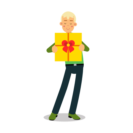 Young smiling blonde man standing with yellow gift box cartoon character vector Illustration Vectores