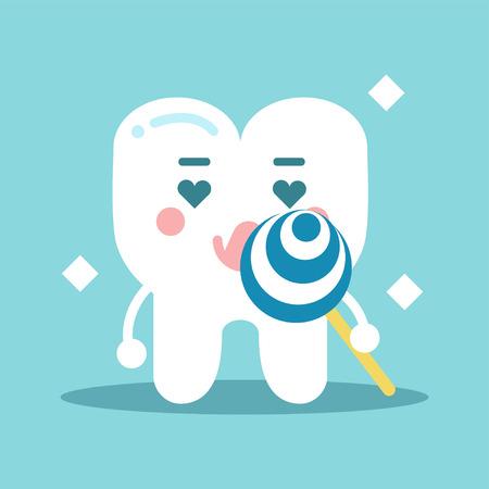enamored: Cute enamored cartoon tooth character holding lollipop. Illustration
