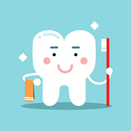 Cute cartoon tooth character brushing and holding towel