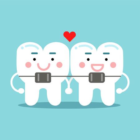 Cute smiling cartoon teeth characters with orthodontic bracket.
