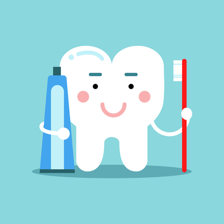 Cute cartoon tooth character brushing with toothpaste. Illustration