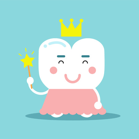 Cute cartoon tooth character in a pink dress and gold crown holding magic wand.