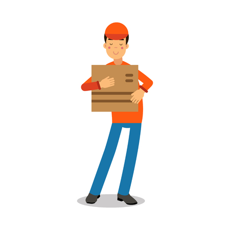 Delivery service worker holding cardbox, courier in uniform at work cartoon character vector Illustration