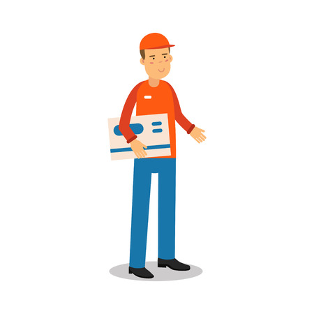 deliverer: Delivery service worker standing and holding big envelope, courier in uniform at work cartoon character vector Illustration