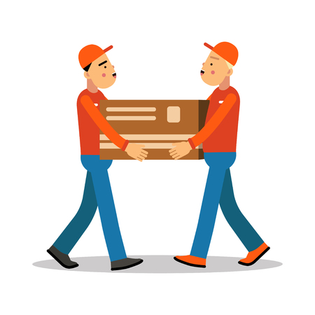 Two workers mover men holding and carrying heavy cardboard box, couriers in uniform at work cartoon characters vector Illustration