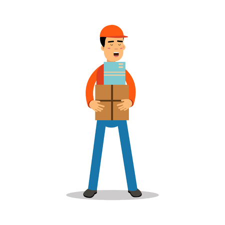 Delivery man standing and holding boxes, courier in uniform at work cartoon character vector Illustration