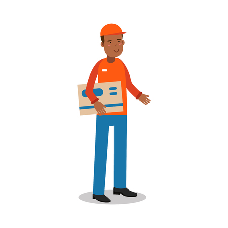 Smiling delivery man standing and holding big envelope, courier in uniform at work cartoon character vector Illustration Illustration