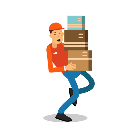 Worker mover man holding and carrying heavy cardboard boxes, courier in uniform at work cartoon character vector Illustration isolated on a white background
