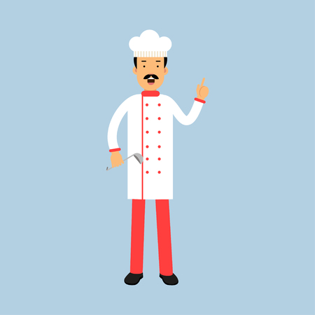 Male chef cook character in uniform standing with ladle and showing hand gesture with a raised index finger vector Illustration Illustration
