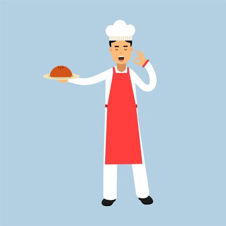 Male chef cook character in uniform holding a cake on a plate and giving a perfect ok delicious cook gesture vector Illustration