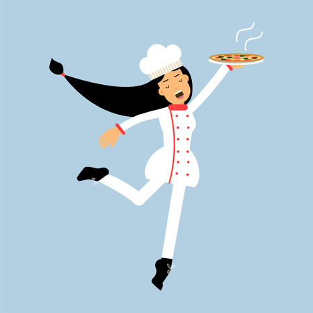 Female chef cook character in uniform jumping with plate of pizza vector Illustration