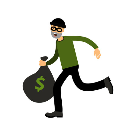 Robber character running with big money bag vector Illustration