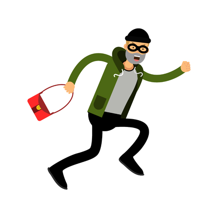 bank robber: Robber character running with red female bag vector Illustration