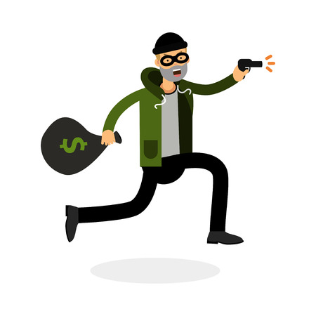Thief in a mask running with a gun and money bag character vector Illustration