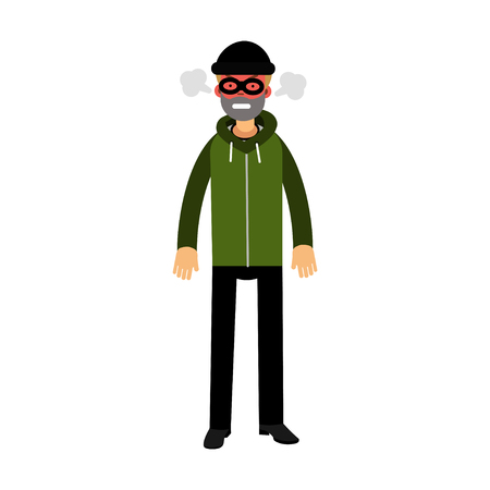 Angry robber character with red face under mask and steam coming out of the ears vector Illustration
