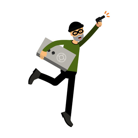 Thief character running with a safe and gun vector Illustration