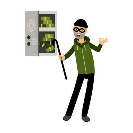 crowbar: Professional burglar character in a mask opened a safe with money with character vector Illustration Illustration