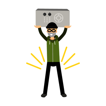 Thief character holding a safe in a highly raised hands vector Illustration Illustration